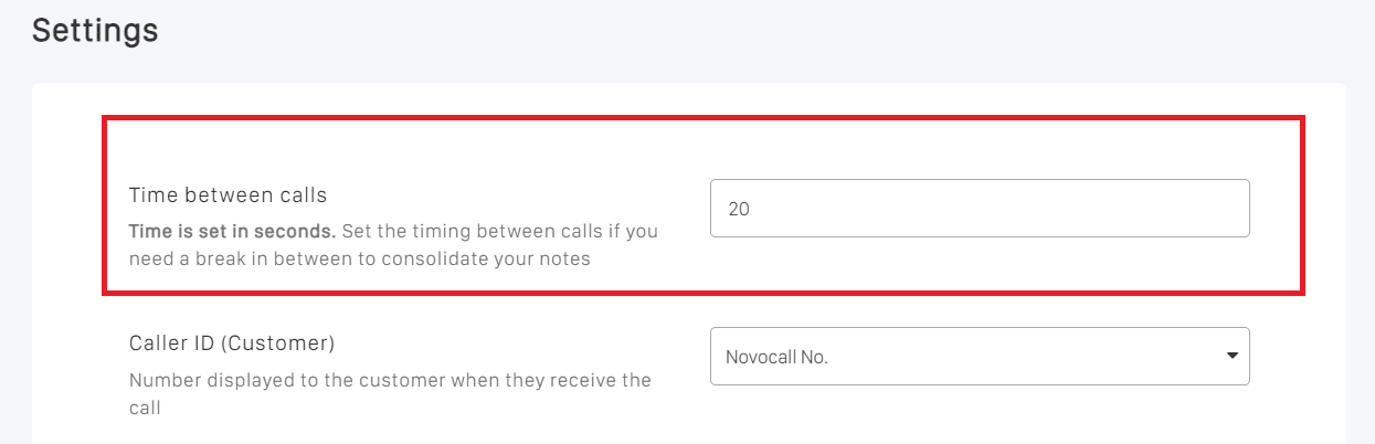 Novocall's outbound dialer allows you to customize the amount of time between calls.