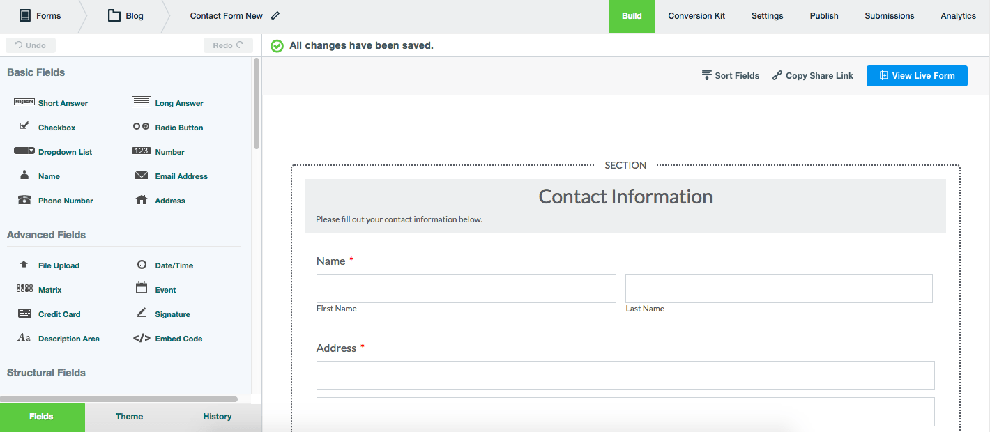 Formstack Forms is an online form builder.